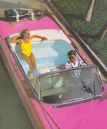 Pink Cadillac With Swimming Pool Backseat Pictures Photos