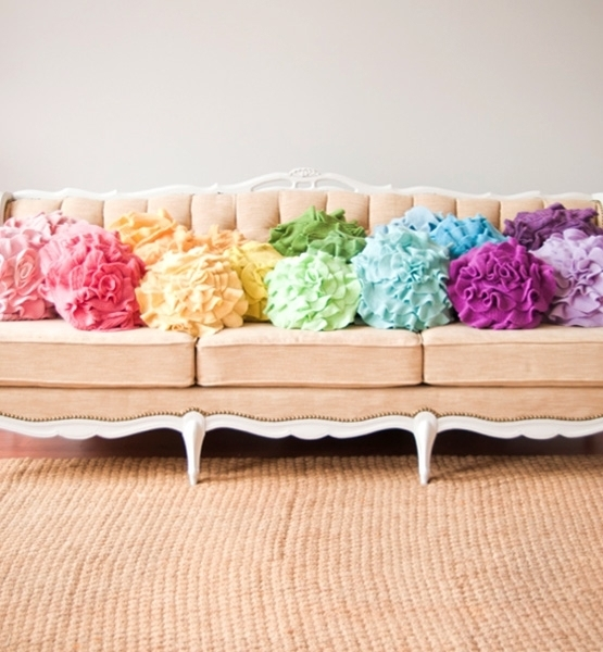 Colorful Pillows For Sofa: Vintage Sofa With Colorful Rose Pillows Pictures, Photos