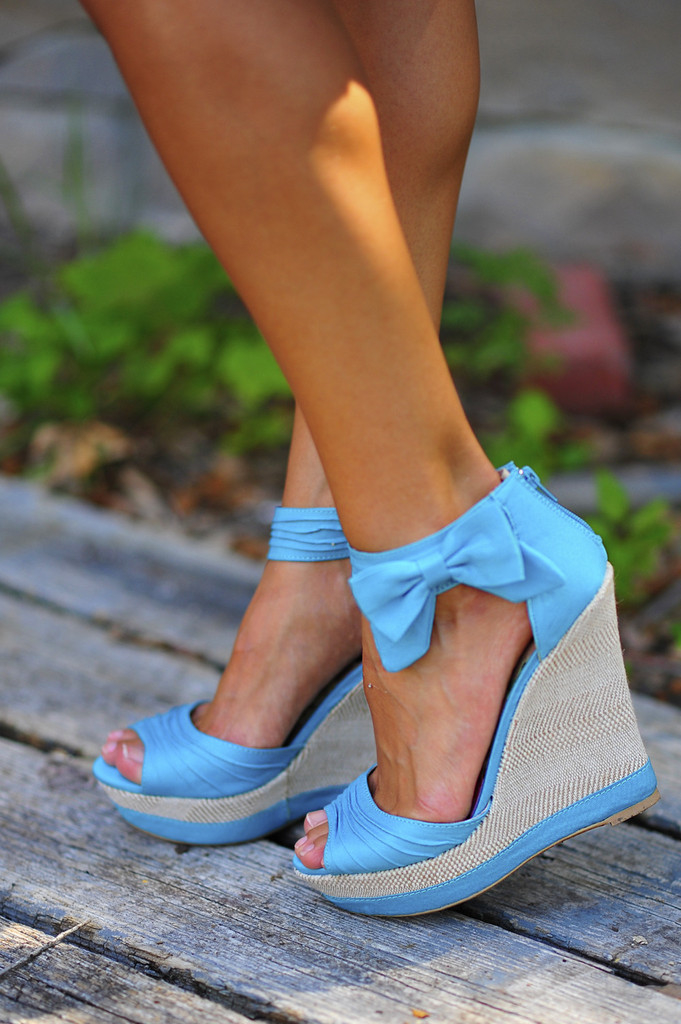 light blue wedges with bow pictures photos and images