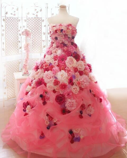 Anime Ball Gown White With Red Roses: Beautiful Pink Gown Of Roses Pictures, Photos, And Images