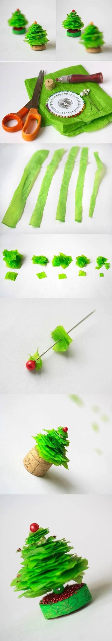 Diy mini christmas tree craft tutorial pictures photos for Miniature christmas trees for crafts