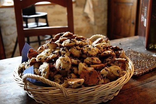 Basket Of Chocolate Chip Cookies Pictures Photos And