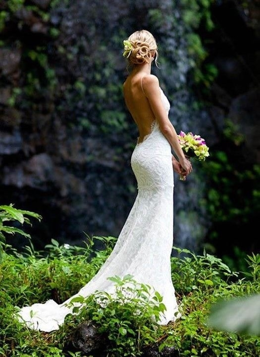 Gorgeous Backless Lace Wedding Gown