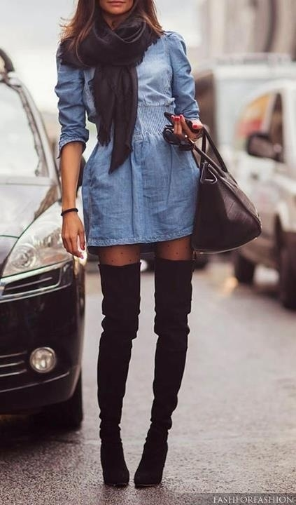 denim shirt dress with thigh high suede boots pictures