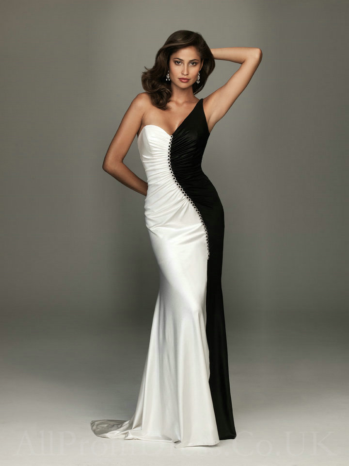 Black & White Off Shoulder Satin Gown Pictures, Photos, and Images ...