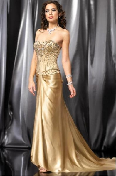 Images of Gold Beaded Evening Gown - Homeas