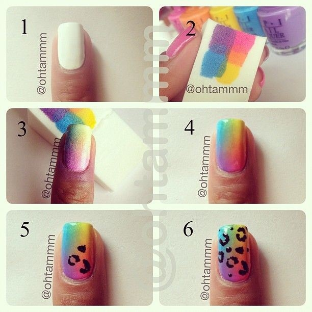 Diy Rainbow Leopard Nail Art Tutorial