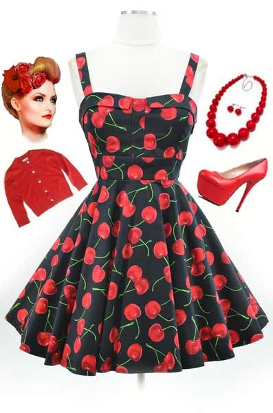 50s vintage cherry print dresses clothing collection pictures