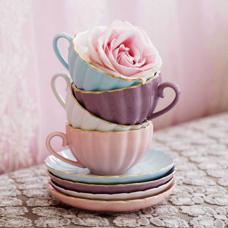 pastel teacups pink rose pictures photos and images. Black Bedroom Furniture Sets. Home Design Ideas