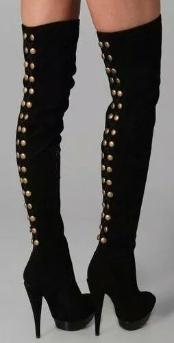 Thigh High Black Suede Boots With Gold Studs Pictures, Photos, and ...