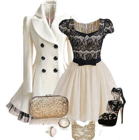Beautiful Black   White Winter Party Outfit Pictures e2c858ba4