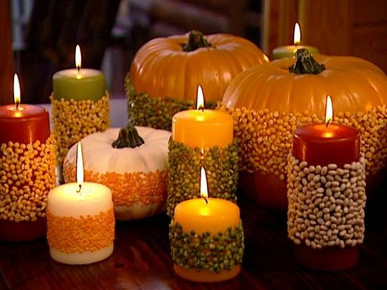 Glue beans seeds to pumpkins candles pictures photos for Thanksgiving centerpieces with candles