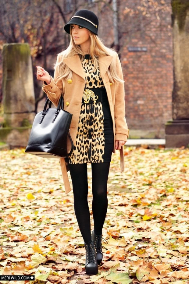 Camel Coat With Leggings Amp Leopard Print Blouse Pictures