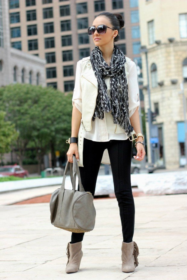 Black Leggings With Shirt Vest Scarf Boots Amp Handbag
