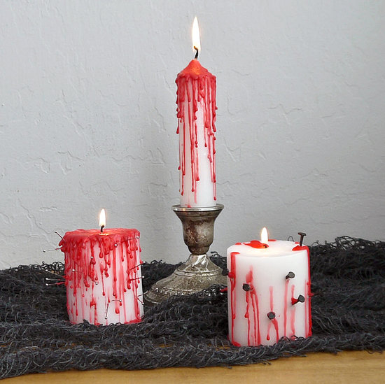 diy bleeding halloween candles - Halloween Candles