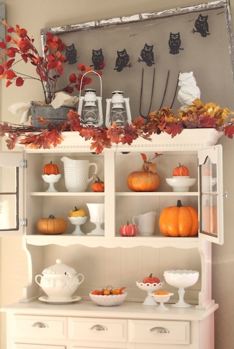 Kitchen Hutch Decorated With Leaves Pumpkins