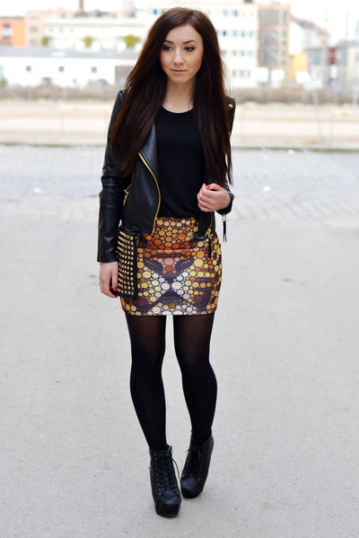 mini skirt cropped leather jacket and boots