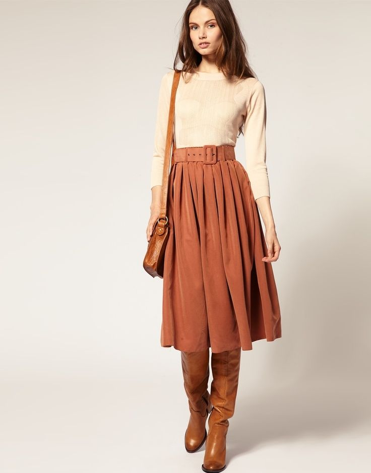Belted Midi Skirt With Brown Boots & Cream Top Pictures, Photos ...