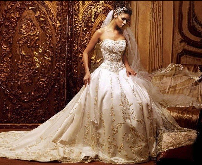 Gorgeous embroidered wedding gown pictures photos and images for