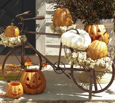 Antique Bike And Pumpkin Decor Pictures Photos And