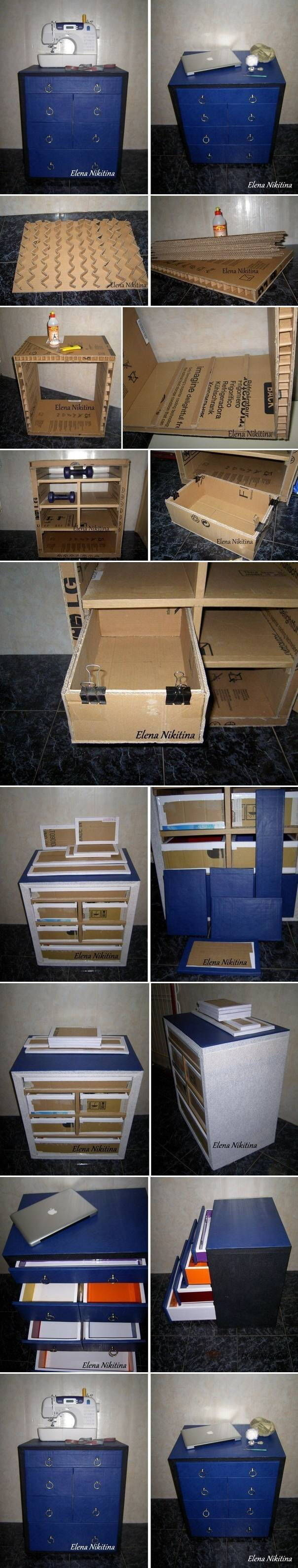Diy Cardboard Chest With Drawers Pictures Photos And
