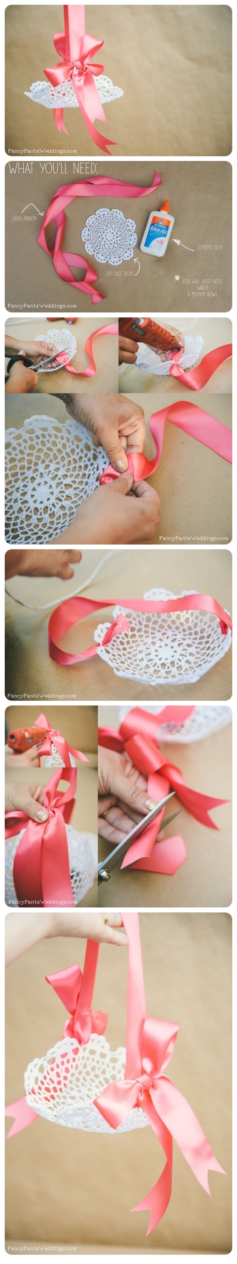 Flower Girl Baskets Diy Pinterest : Lace flower girl petal basket diy pictures photos and