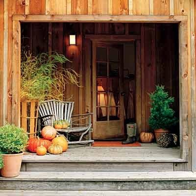 Rustic front porch in fall pictures photos and images for Rustic front porch