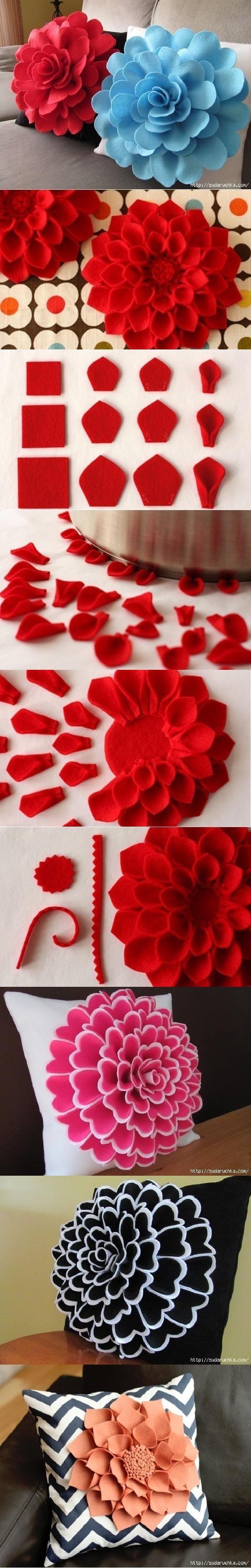 DIY Decorative Felt Flower Pillow Pictures, Photos, and ...