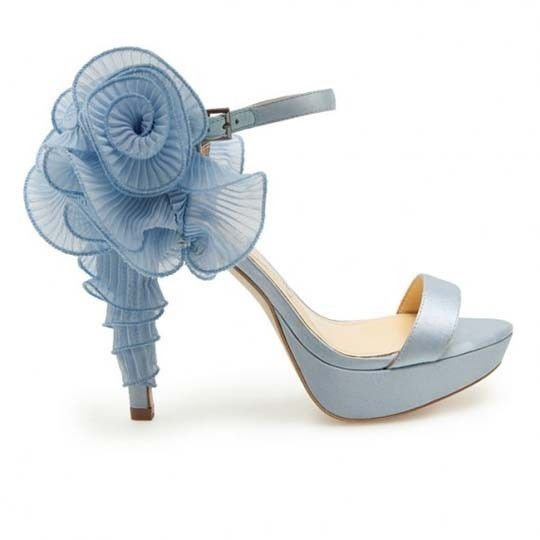 Light Blue High Heel Sandals With Rose Applique Pictures, Photos ...