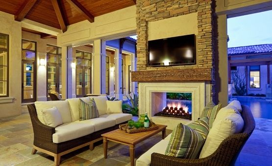 outdoor room with fireplace & tv pictures, photos, and images for