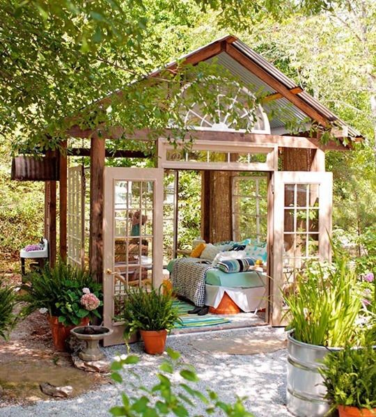 Backyard Room Plans : Converted Shed Into A Cozy Outdoor Room Pictures, Photos, and Images