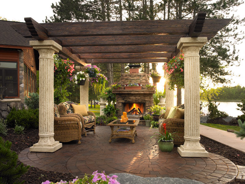 Gorgeous Patio With Pergola U0026 Fireplace