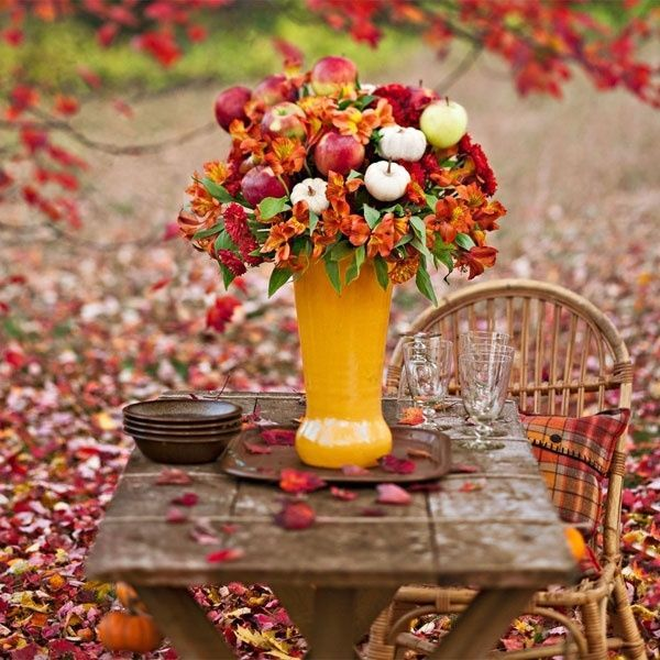 Fall Flowers Apples amp Mini Pumpkins In A Vase Pictures