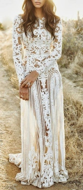 Bohemian white lace wedding dress pictures photos and for Bohemian white wedding dress