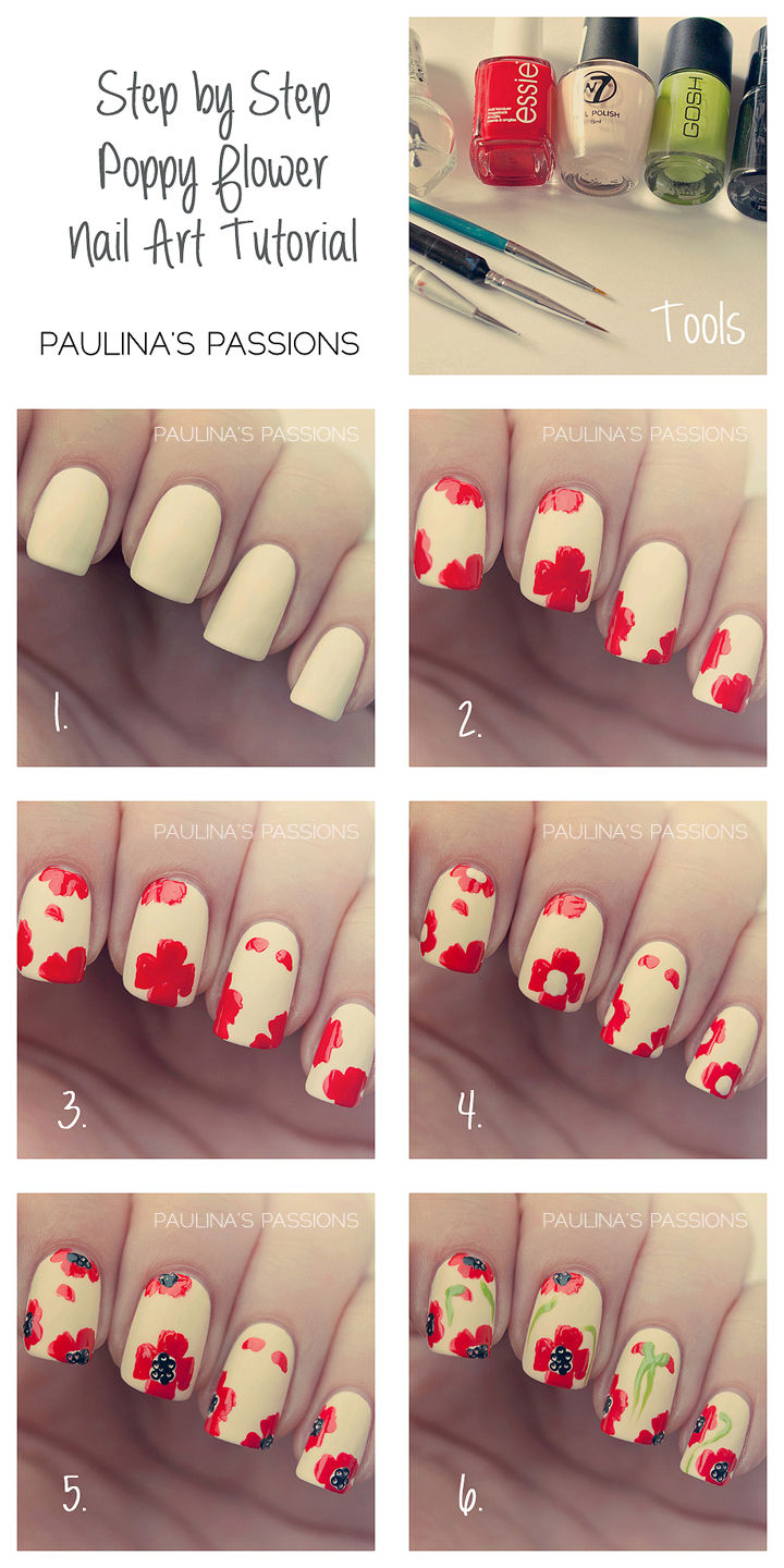 Diy Poppy Flower Nail Art Pictures Photos And Images For Facebook