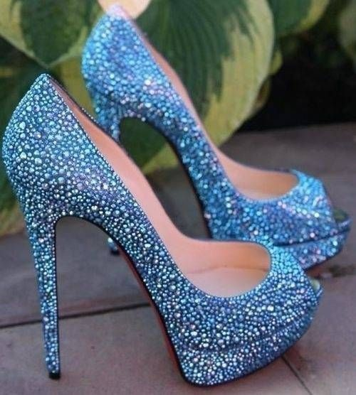Light Blue Beaded Glitter Pumps Pictures, Photos, and Images for ...