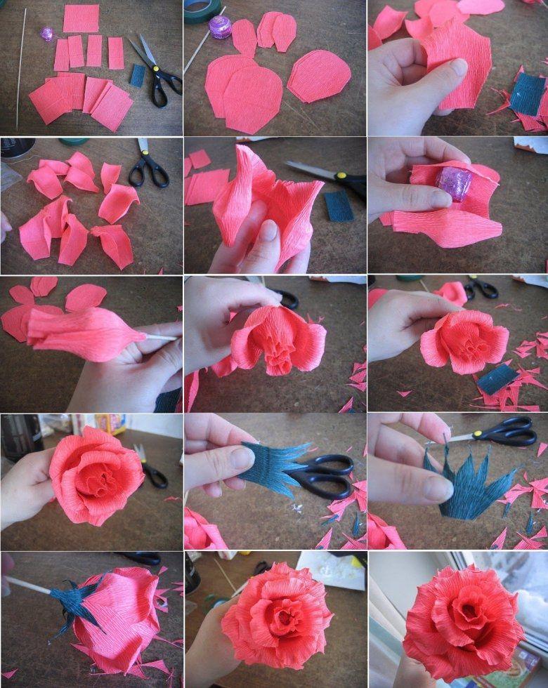 Как сделать розы из крепированной бумаги своими руками 884