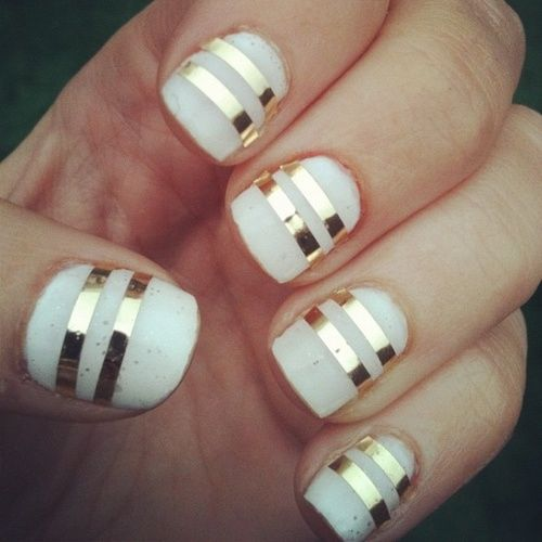 Gold Striped White Nails Pictures Photos And Images For