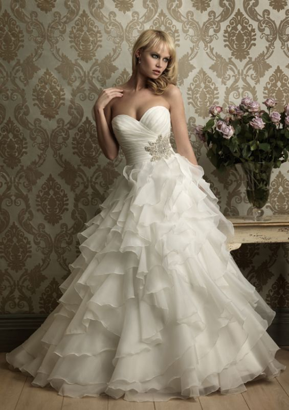 Strapless Wedding Gown with Ruffles