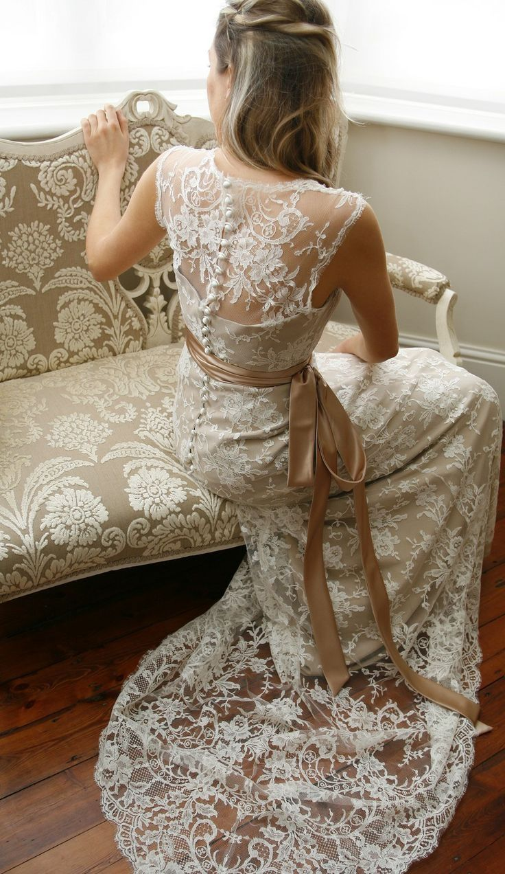 Vintage Inspired Coffee Lace With Sash Wedding Dress
