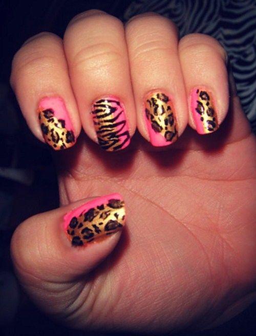 pink cheetah print nails tumblr