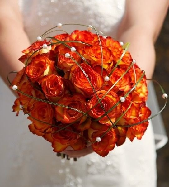Bien connu Orange Roses Autumn Bridal Bouquet Pictures, Photos, and Images  TS02