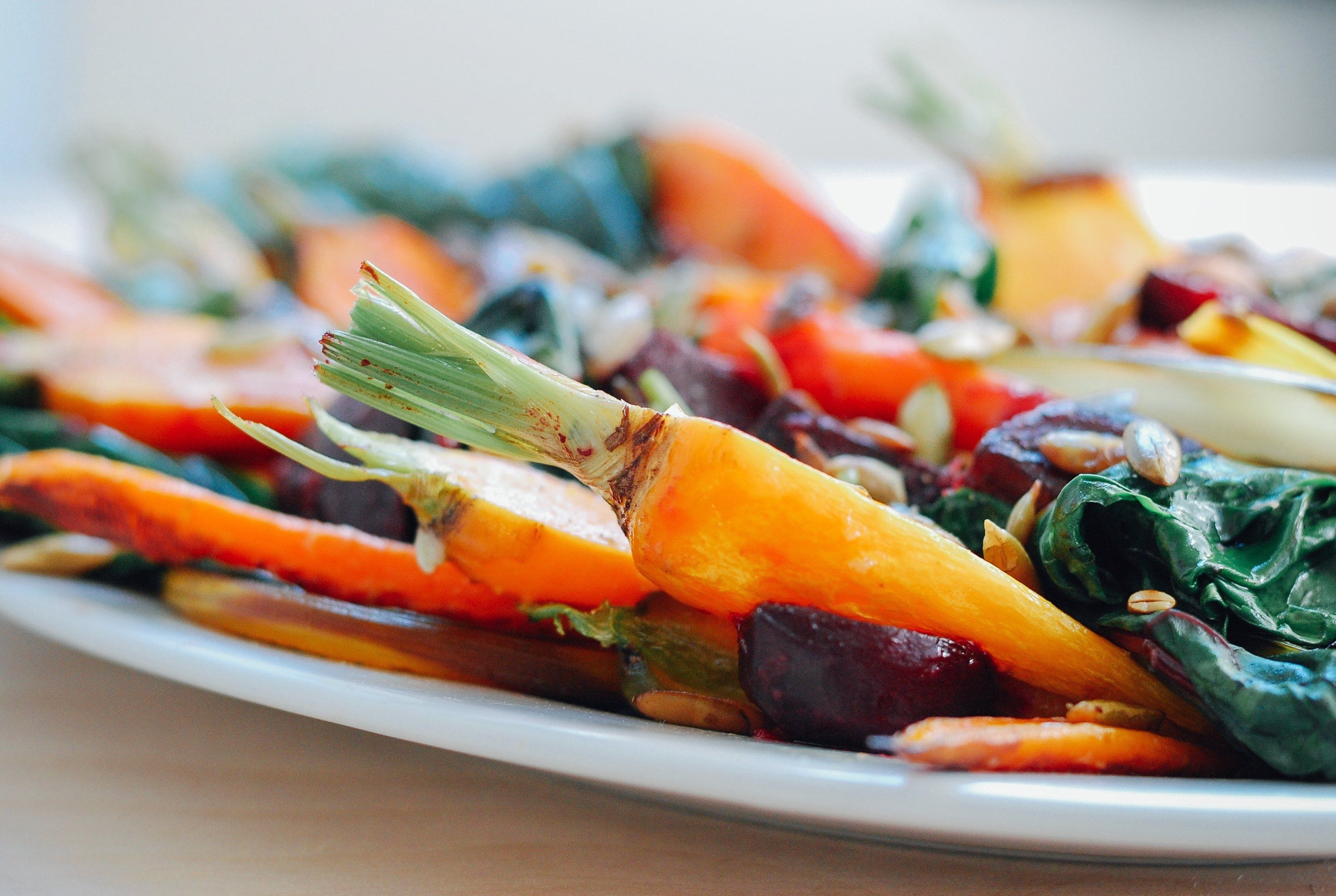 Roasted Vegetable Salad With Garlic Dressing Pictures, Photos, and ...