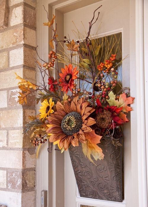 Silk Flower Door Decoration For Fall Pictures Photos And