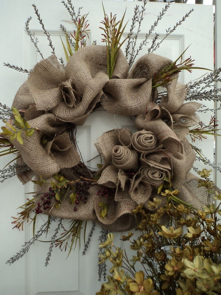 Autumn Wreath Made With Burlap Dried Flowers Amp Berries Pictures Photos And Images For