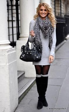 Fall Sweater Dress With Matching Stockings Amp Knee Boots