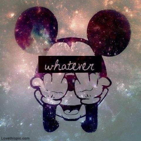 Tumblr Mickey Mouse Galaxy Middle Finger