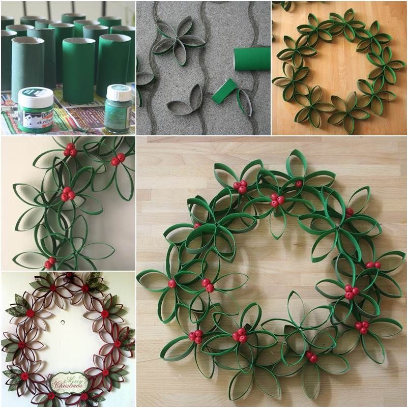 diy christmas wreath from paper rolls - Pinterest Christmas Wreaths