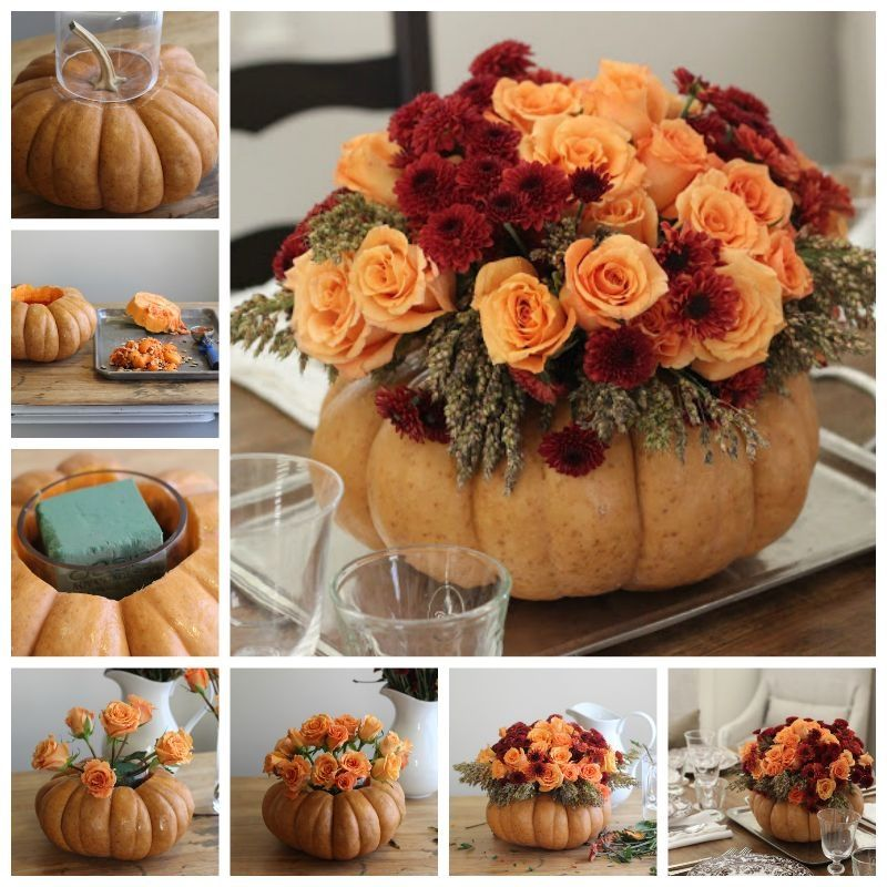 Diy pumpkin vase thanksgiving centerpiece pictures photos