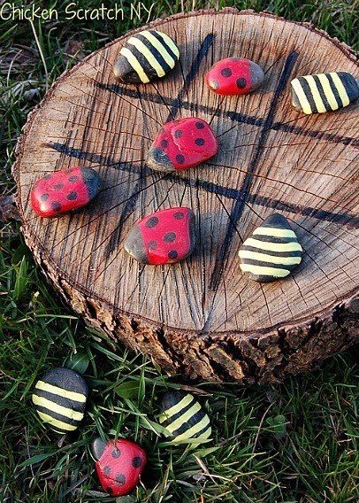 Tree Stump Tic Tac Toe With Painted Rocks Pictures Photos